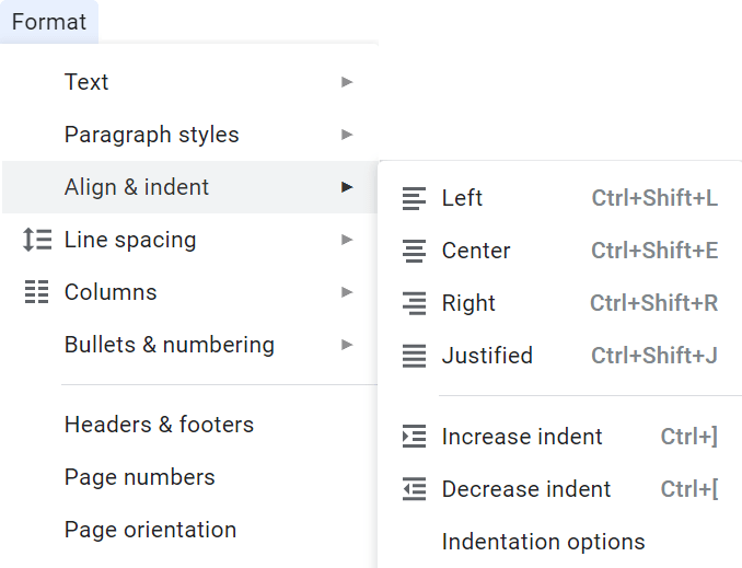 Screenshot of indentation options for screenplay formatting in Google Docs