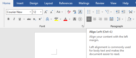 Alignment options for screenplay formatting in Microsoft Word