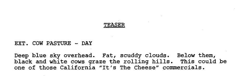 Screenshot of teaser heading for Breaking Bad's pilot script