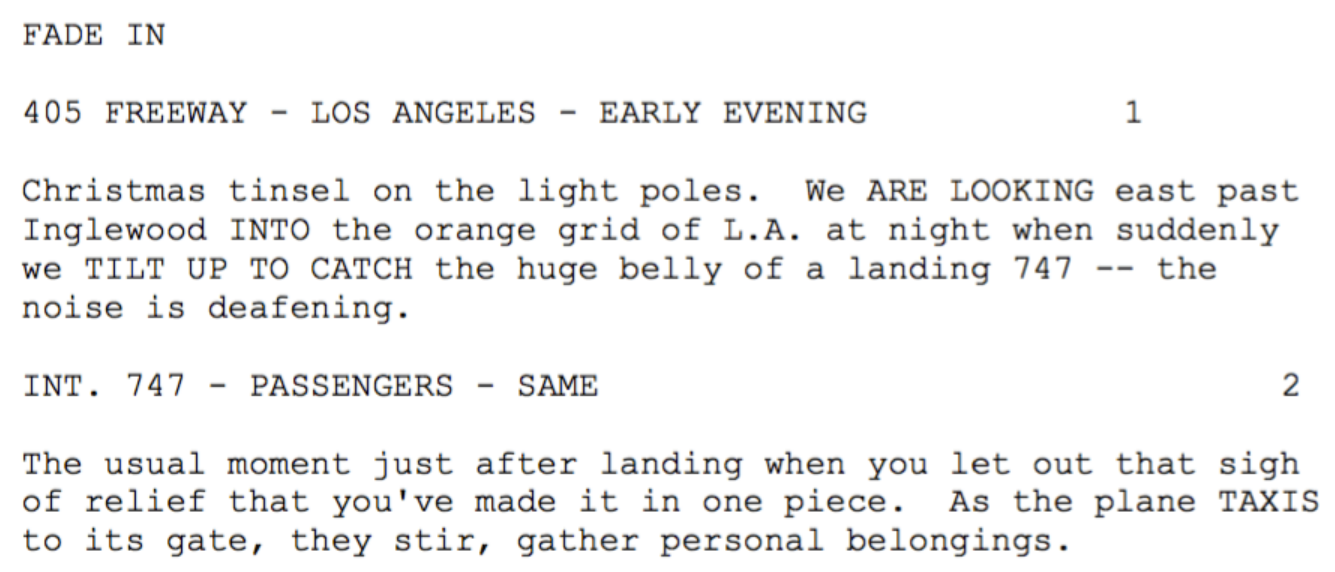Screenshot of an except from the screenplay outline of Die Hard