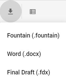 JotterPad export formats: fountain, word and final draft