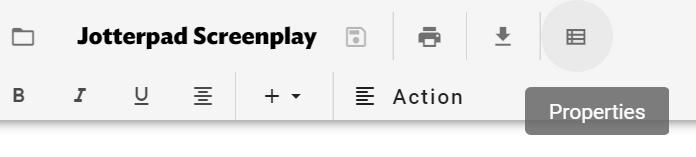 Screenshot of Jotterpad Properties tab