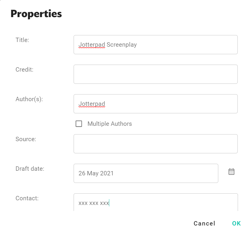 JotterPad title page pop-up window