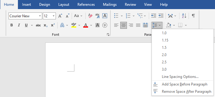 Line spacing options for screenplay formatting in Microsoft Word