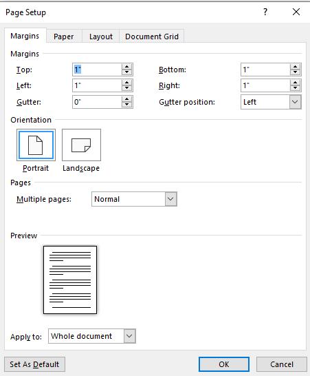 Screenshot of page margin setup for screenplay formatting in Microsoft Word