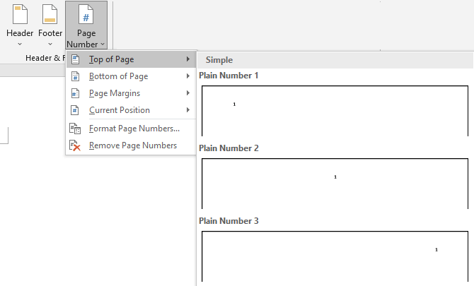 Page numbering options for screenplay formatting in Microsoft Word