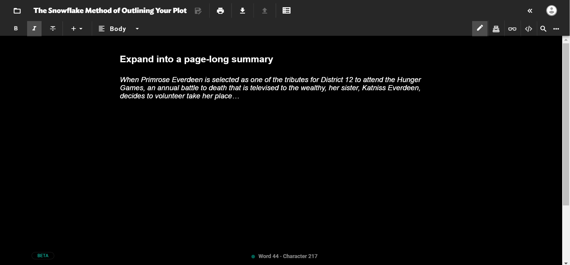 Screenshot of how a page-long summary of The Hunger Games might begin on JotterPad