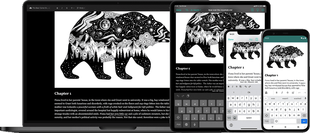 JotterPad's cloud sync allows you to write your novel on web, iPad, iOS and Android