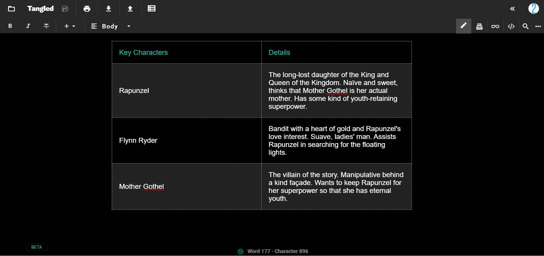 An example of how you can plan out your characters' traits in your basic story outline on JotterPad