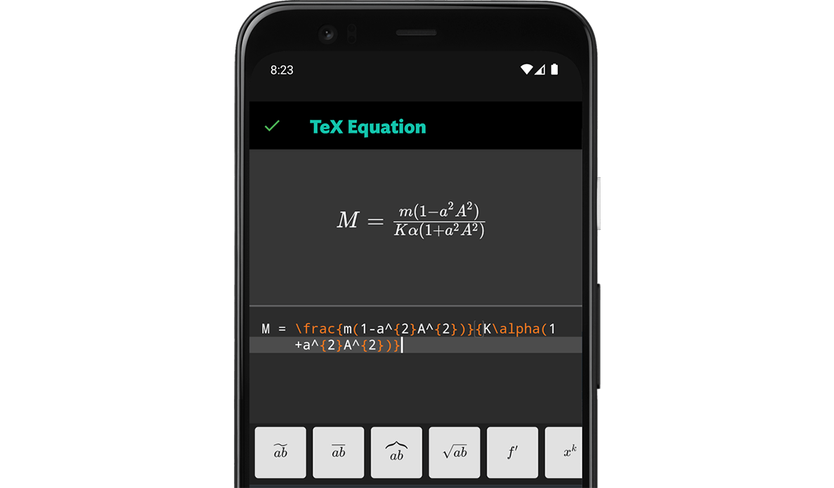 A screenshot of you can insert TeX Equations in JotterPad Android