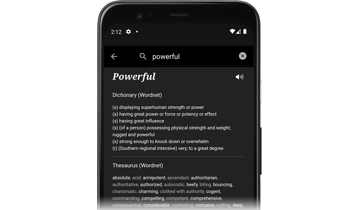 A screenshot of JotterPad Android's research function, where you can search up word definitions and thesaurus