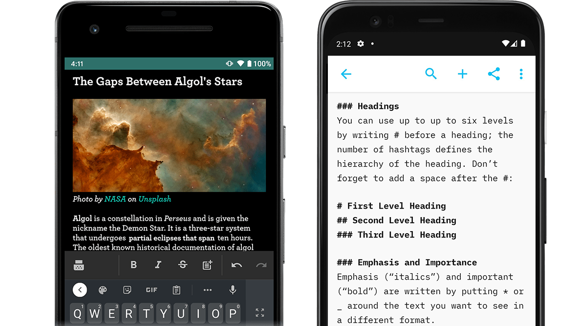 How it looks like to write in WYSIWYG on JotterPad versus writing in plain text on iA Writer Android