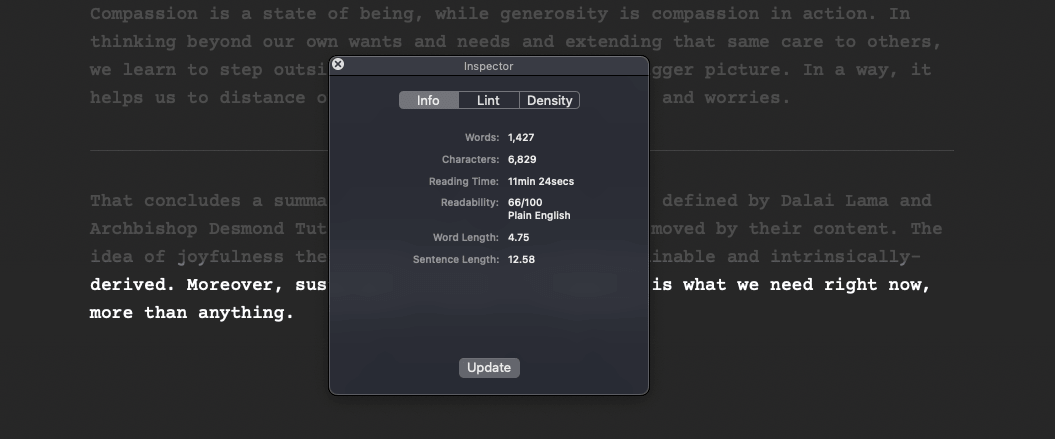 A screenshot of how JotterPad's Inspector feature works