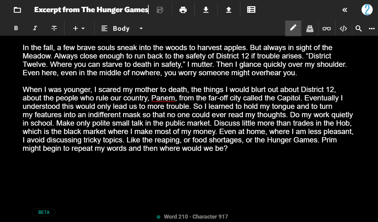 Except from the first chapter of The Hunger Games by Suzanne Collins