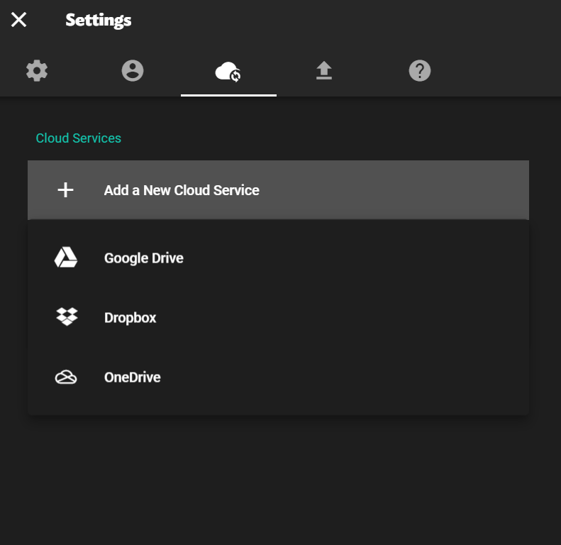Choose to save your work in Google Drive, Dropbox or OneDrive